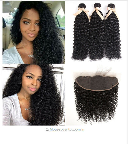 Jerry Curly 100% Indian Virgin Human Hair Extensions 13 X 6 Lace Frontal