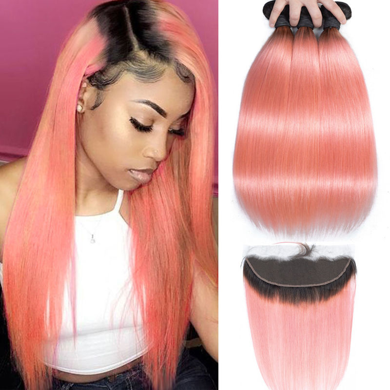 Pink Front Ombre Human Hair Extensions Silk 10A Grade Tangle Free