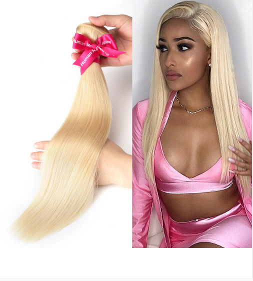 3 Bundles Straight Peruvian Human Hair Weave For Lady 613 Blonde Color