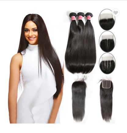 SGS Straight Human Hair Weave / Peruvian Hair Bundles With Closure
