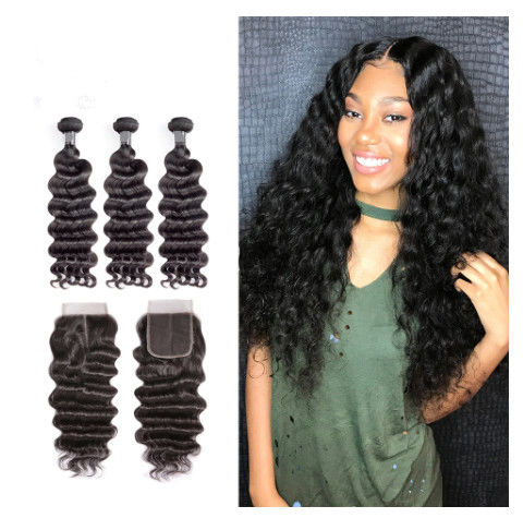 12 Inch Virgin Indian Human Hair Weave / Closure Deep Wave Bundles