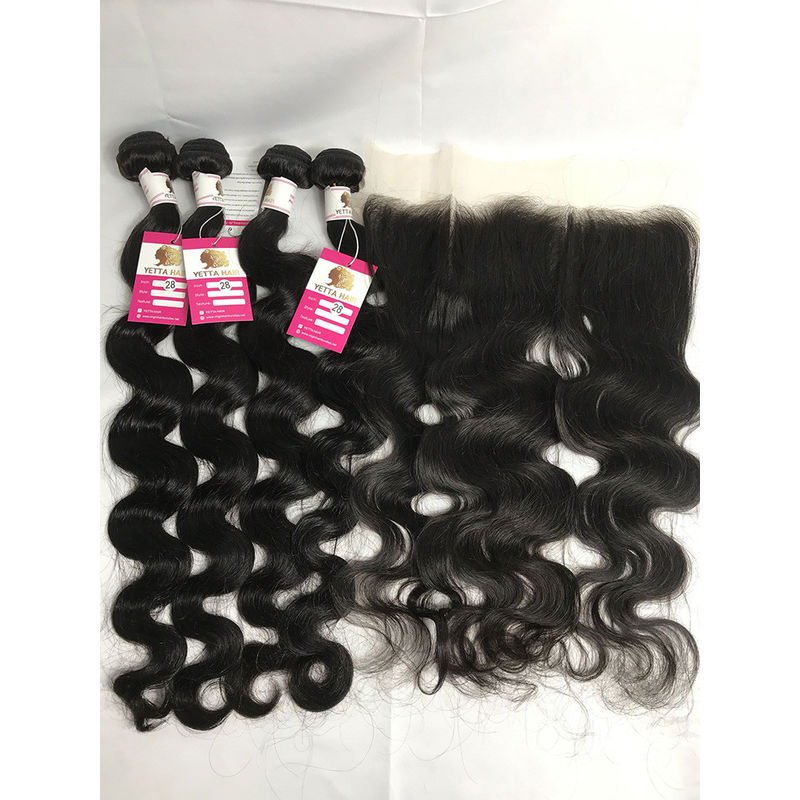 Full Thick Yetta Body Wave Virgin Brazilian Hair 4 Bundles With Frontal